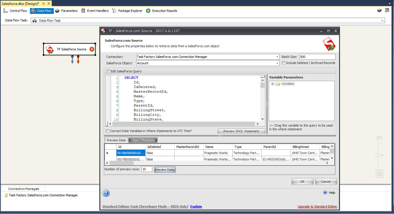Salesforce com Source Configuration