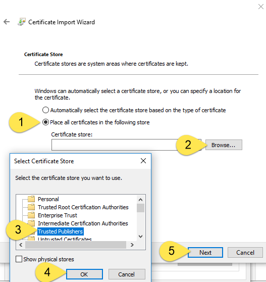 Certificate Import Has Failed