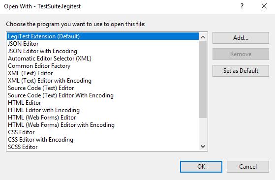 LegiTest Project Opens as XML File